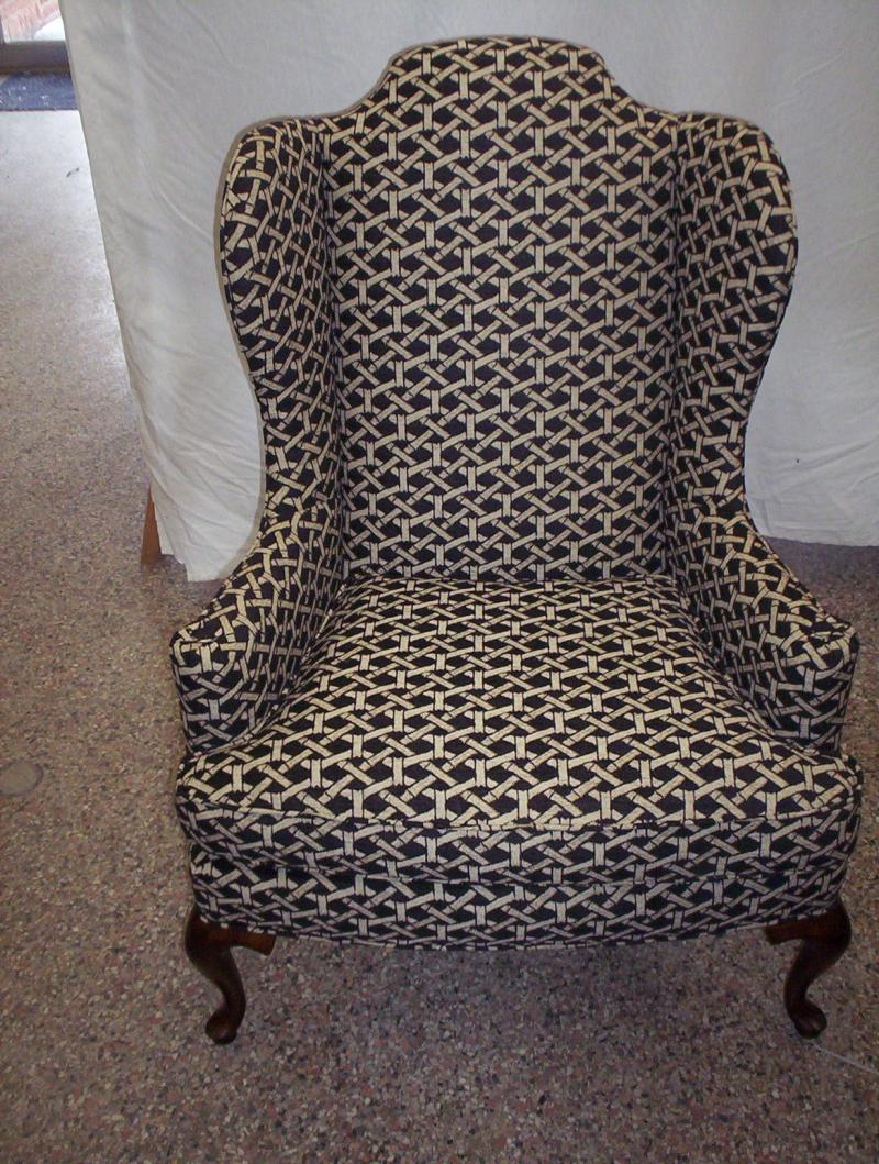 up dated fabric on a wing back chair